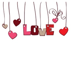 Hearts and word love on white background vector