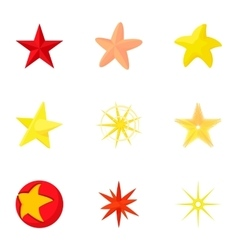 Five-pointed star icons set cartoon style vector
