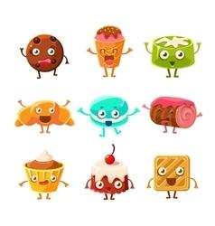 Sweet dessert pastry childish cartoon characters vector