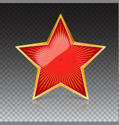 red star with gold metal rim and radiating from vector image