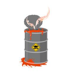 Radioactive waste barrel toxic refuse keg vector