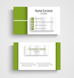 Modern green light business card template vector