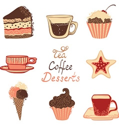 Tea coffee and dessert icons vector