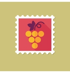 Grapes flat stamp with long shadow vector