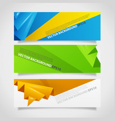 Origami polygonal abstract banners collection vector