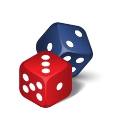 Red and blue dices vector