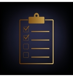 Checklist sign golden style icon vector