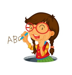 Writing icon girl vector