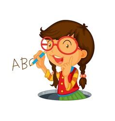 Writing icon girl vector image