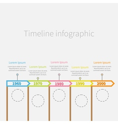 Arrow flag sticks horizontal timeline infographic vector