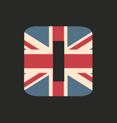 Capital number zero with uk flag texture isolated vector