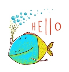 Cartoon Funny Fish Greeting Card Design Hand Drawn vector image