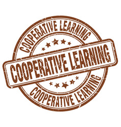 Cooperative learning brown grunge stamp vector