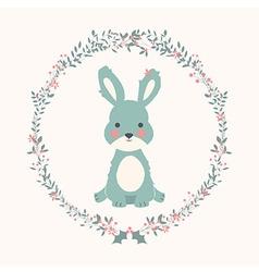 Cute baby bunny rabbit in christmas flower vector