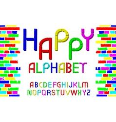 Decorative multicolor font happy alphabet vector