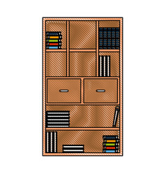 Drawing bookcase library books furniture drawers vector