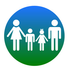 Family sign white icon in bluish circle vector