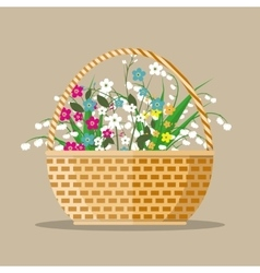 flowers in a basket vector image vector image