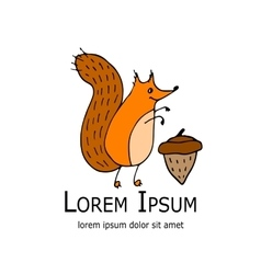Funny squirrel with nut for your design vector image vector image