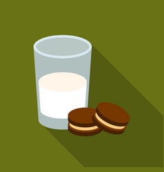 Glass of milk with cookies icon in flate style vector