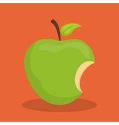 Green apple biten vector image