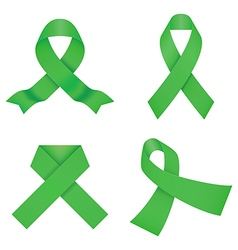 Green awareness ribbons vector image vector image