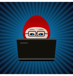 Hacker with red cap computer man behind laptop vector