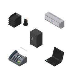 Isometric office set of desk file rack laptop vector