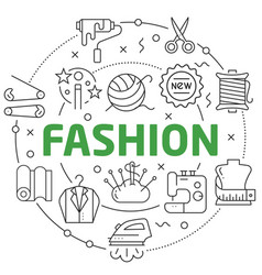 Line flat circle fashion vector