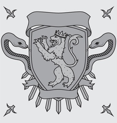 Lion on the shield badges vector