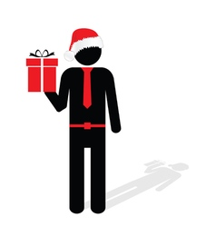 man with christmas hat red silhouette vector image vector image