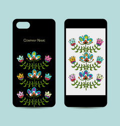 mobile phone design folk style floral background vector image