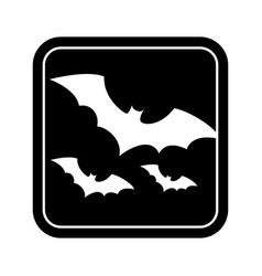 Monochrome square silhouette with bats vector