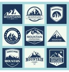 Mountain travel outdoor adventures logo set vector image vector image
