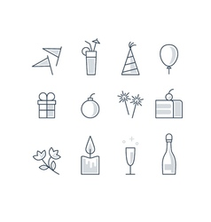 New year and birthday identity icons set vector image