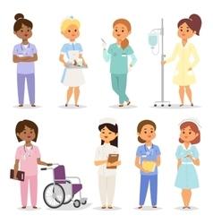 Nurses character set vector image