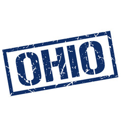 Ohio blue square stamp vector