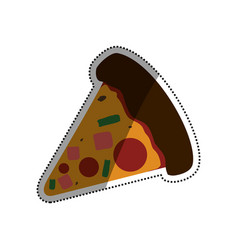 Pizza slice pepperoni cheese vector