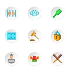 Robbery icons set cartoon style vector