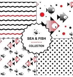 Sea and fish pattern set vector