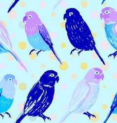 Seamless pattern with colorful hand drawn parrots vector