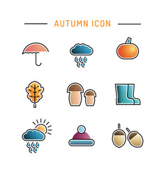 set autumn icon vector image vector image