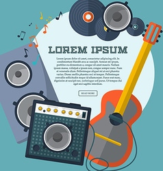 Set of guitar combo amp speaker notes and records vector