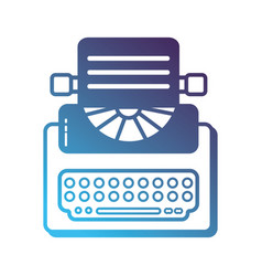 silhouette retro typewriter equipment with vector image