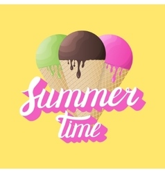 Summer Time calligraphy with realistic ice cream vector image