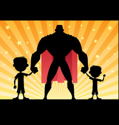 Super dad with 2 sons vector