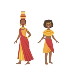 Two women in yellow and red dresses from african vector