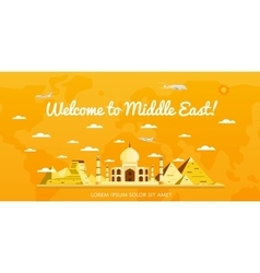Welcome to middle east poster with attractions vector