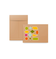 white beige and brown paper envelopes realistic vector image vector image
