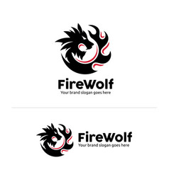 wolf fire identity wolf head in circle fire shape vector image vector image